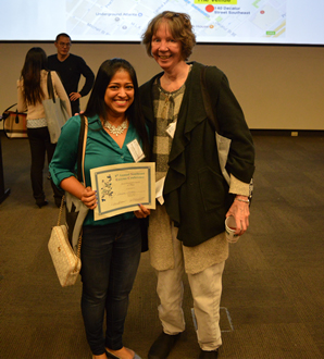 Liz with her Ph.D. student Deepika Nambiar at the 8th Southeast Enzyme Conference, Atlanta GA in 2017.